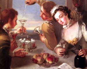Detail from 'The sense of Taste' by Philip Mercier 1680 1760 with a plate of syllabubs.