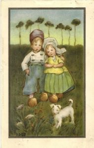 Girl and Boy in Dutch national dress walking with a dog by Ivy Millicent James