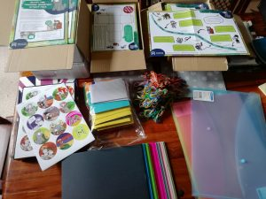 Supplies assembled to put together family learning packs