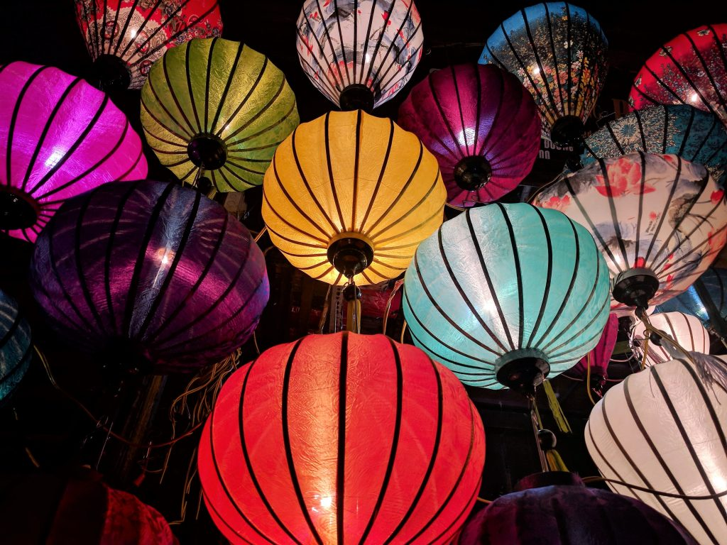 Red, blue, yellow and white sky lanterns (image courtesy of Expect Best)