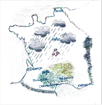 Rough map of France detailing differences in weather patterns