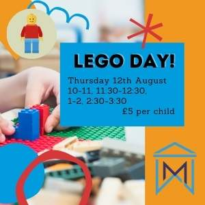 Lego Day event thumbnail showing session times
