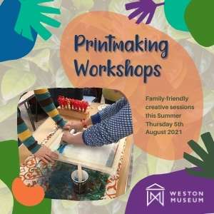 Printmaking Workshops Thumbnail with text title and screenprinting image